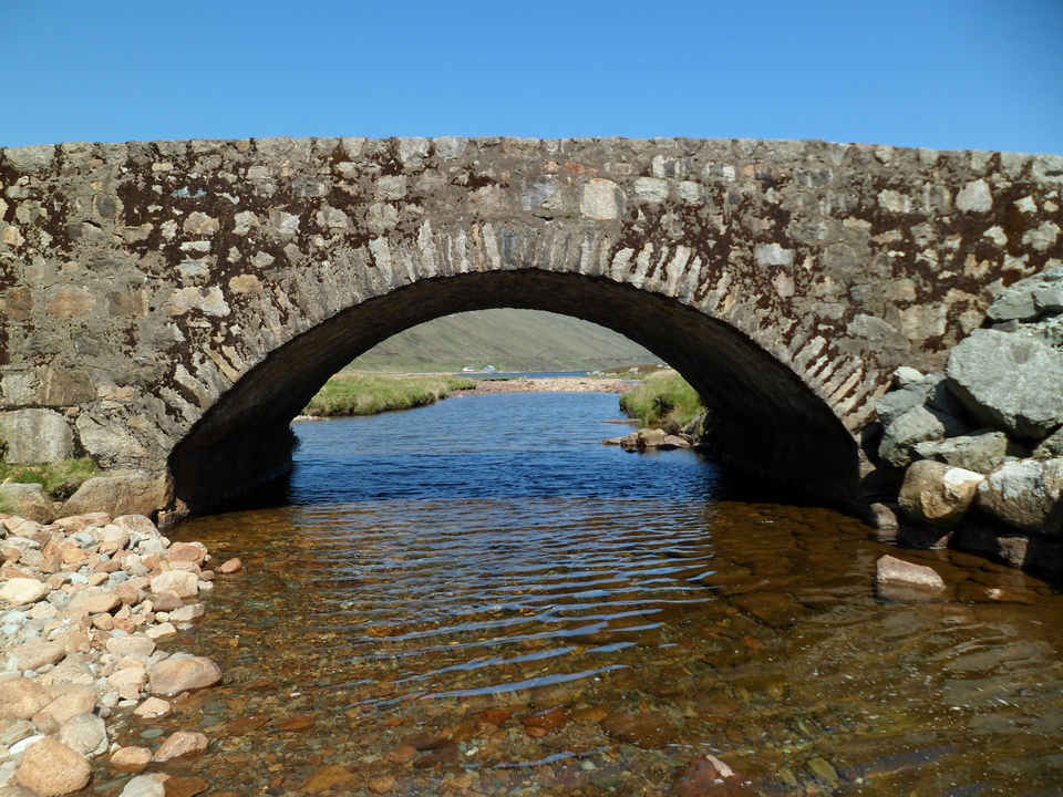 Moll Road bridge over river flowing into Loch Ainort