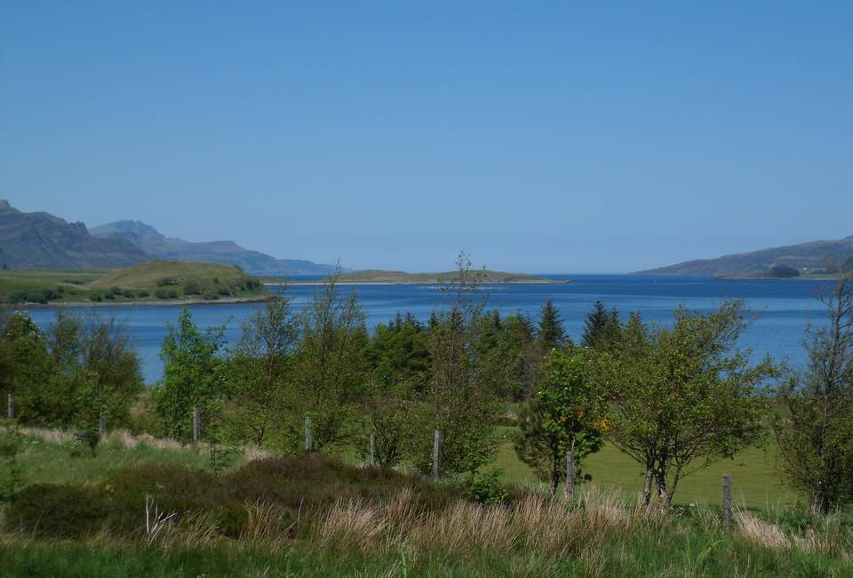 The Old Man of Storr and Ben Tianavaig from Sconser Golf Course